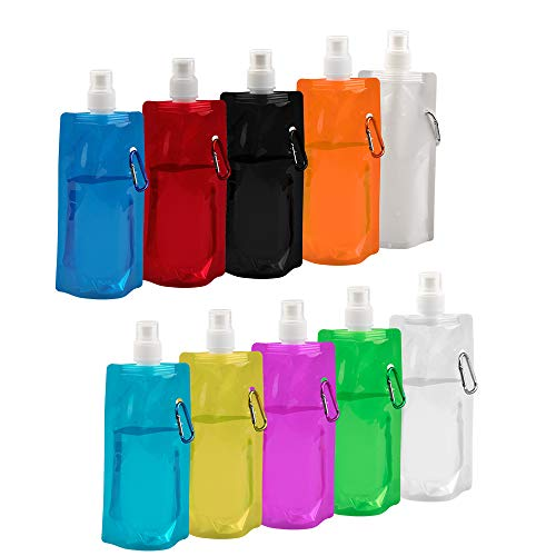 Tasche Falten (Vegena 10 Stücke 480ml Faltbare Wasserflasche Wiederverwendbare Trinkwasserflasche Falten Wasser Tasche für Outdoor-Sportarten Reiten Wandern, 10 Farben)