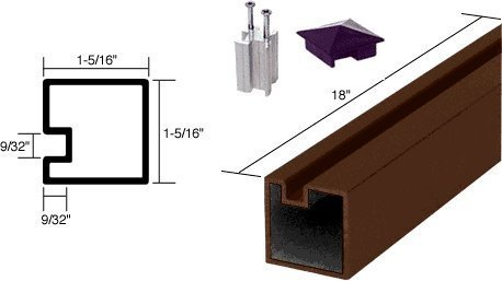 Crl Duranodic Bronze (C.R. LAURENCE 6407518 CRL Duranodic Bronze 18 End Aluminum Counter Post by C.R. Laurence)
