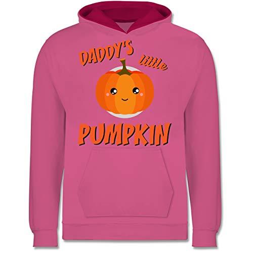 Shirtracer Anlässe Kinder - Daddys Little Pumpkin Halloween - 12-13 Jahre (152) - Rosa/Fuchsia - JH003K - Kinder Kontrast Hoodie (Ideen Halloween-kostüm Kid, Gruppe)