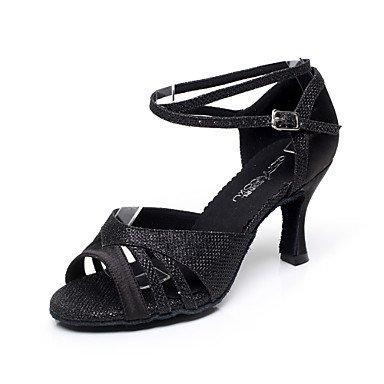 Silence @ satiné Chaussures de danse pour femme en satin Latin/Salsa Sandales Talon évasé Intérieur Noir/violet/doré noir