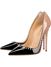 3fc61dfeda82d Caitlin Pan Womens Stylish Round Toe High Heel Slip On Pumps Rivet Studded Stiletto  Dress Court