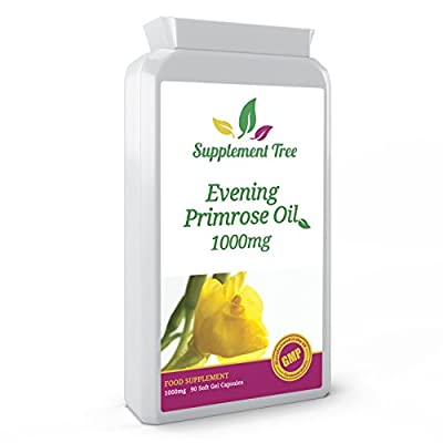 EVENING PRIMROSE OIL 1000mg 90 Capsules - Supports Hormone Balance, Joint Health & Skin, Hair & Nails - Vegan Supplement Contains Gamma Linolenic Acid GLA- UK Manufactured GMP Guaranteed Quality from Supplement Tree