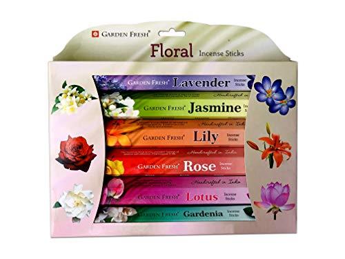 Garden Fresh Räucherstäbchen Floral Set mit 6 Blütenduften, Lavendel, Jasmin, Lilie, Rose, Lotus, Gardenie, 6 Packungen à 20 Stäbchen