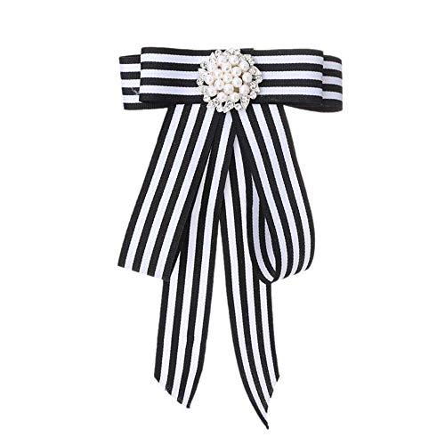 MJARTORIA Damen Schleife Brosche schwarz Streifen Anstecknadel mit Strass Frauen Kragen Schleifenbrosche Modeschmucke für Partys Hochzeit Bankett (schwarz)