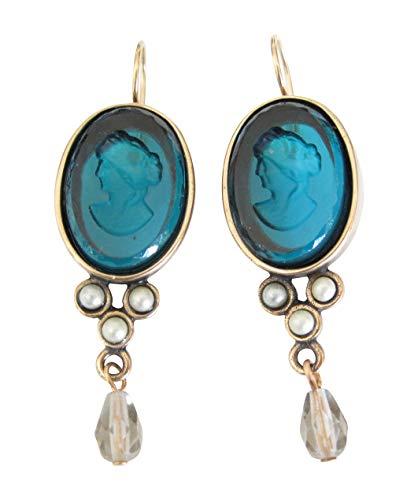 Stilvolle große Gemmen-Ohrringe Ohrhänger petrol-blaue Glas-Gemme hängende Süßwasserperle...