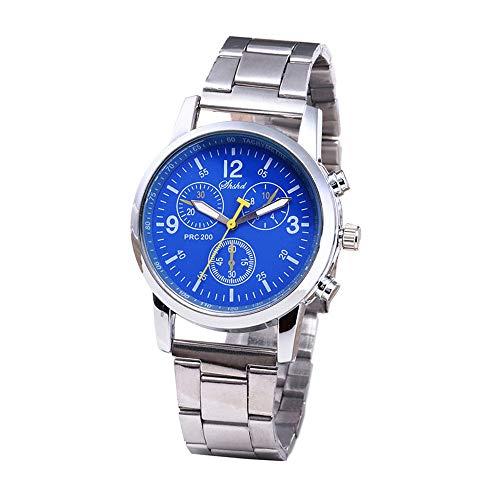 squarex Armbanduhr für Herren, klassisch, modern, neutral, Quarzuhrwerk, analog, Stahlband, Damen, blau, AS Show