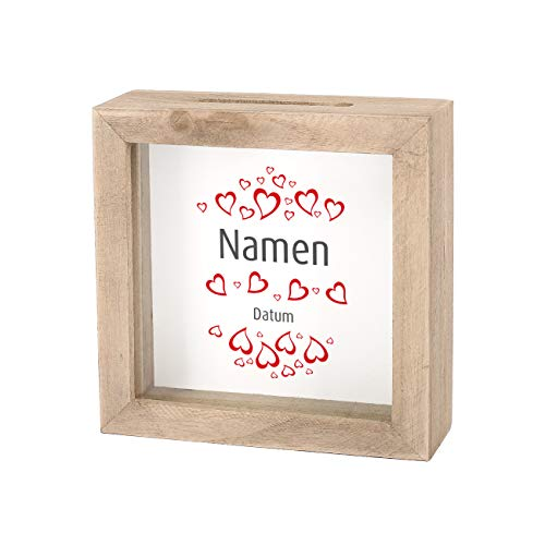 Herz & Heim® Geldgeschenk zur Hochzeit als Bedruckte Bilderrahmen Spardose - individuell für Sie erstellt mit Namen und Datum Natur Herzen