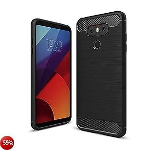 LG G6 Custodia Cover, Elekin LG G6 Silicone Caso Molle di Nero TPU Sottile Anti Scivolo Case Copertura Protezione antiurto per LG G6