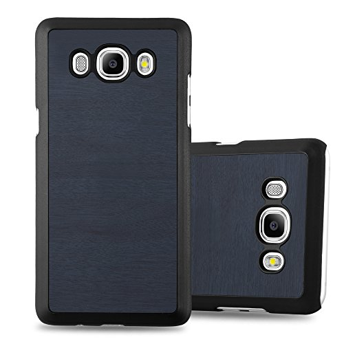 Preisvergleich Produktbild Cadorabo Hülle für Samsung Galaxy J7 2016 (6) - Hülle in Woody BLAU - Hardcase Handyhülle in Vintage Holz Optik - Schutzhülle Bumper Back Case Cover