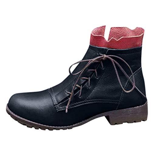 Xuthuly Damenmode Vintage Farbe Patchwork Schnürstiefel Mittlere Waden Damen Casual Kurze Runde Kappe rutschfeste Stiefeletten mit niedrigen Absätzen Einzelne Schuhe