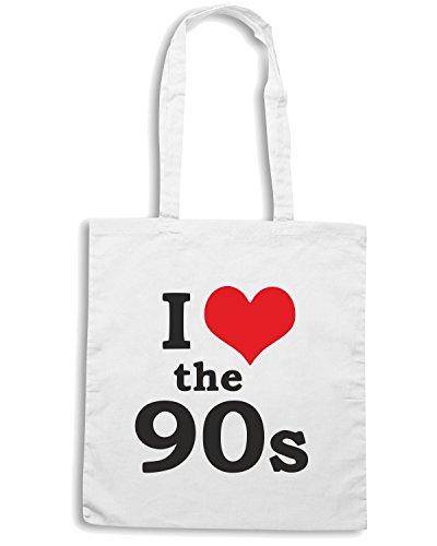 T-Shirtshock - Borsa Shopping TR0068 I Love The 90s 25mm 1 Pin Badge Button 90 s Nineties Bianco