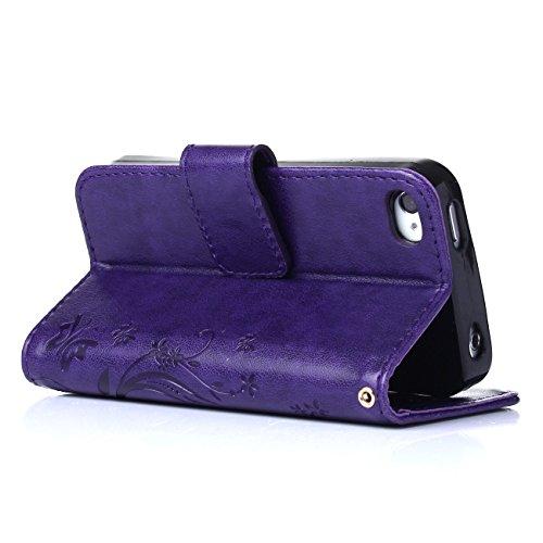 MOONCASE iPhone 4S Hülle Blume Premium PU Leder Schutzhülle für iPhone 4 4S Bookstyle Tasche Schale TPU Case mit Standfunktion Teal Lila