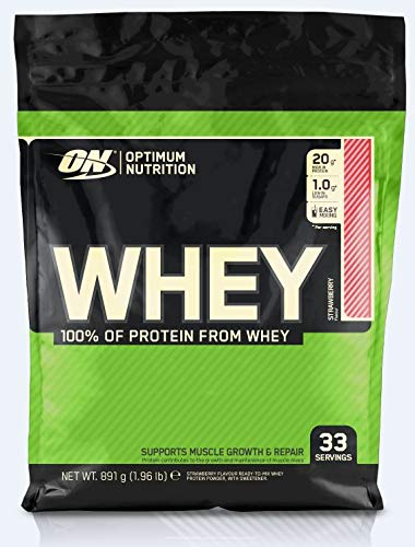 Optimum Nutrition ON Whey Protein Pulver. Zuckerarmes Eiweisspulver von ON  Strawberry, 33 Portionen, 0,9kg
