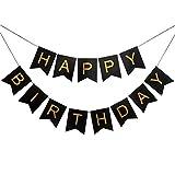 Veewon Happy Birthday Bunting Banner Negro y letras de oro Guirna