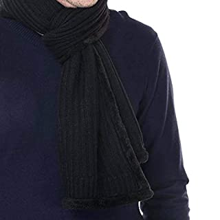 MeiZiWang Scarf Mens Luxury Inspired Stylish Warm Knitted Striped Winter,Black