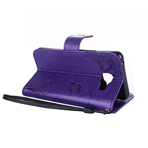 Samsung Galaxy A3 2016 Hülle,Samsung Galaxy A3 2016 Leder Wallet Tasche Brieftasche Schutzhülle,Cozy Hut Schmetterling Ameise-Dating Muster Schutzhülle für Samsung Galaxy A3 2016 Hülle Flip Case Walle Deep Purple