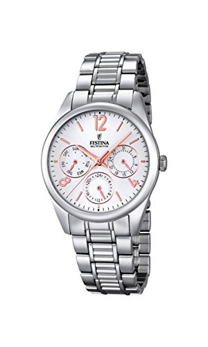 Festina Women's Quartz Watch with White Dial Analogue Display and Silver Stainless Steel Bracelet F16869/1