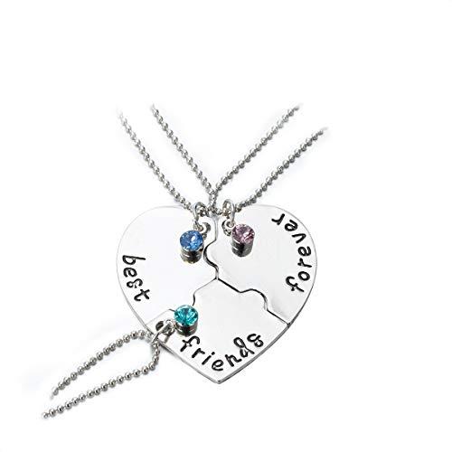 Freundschaftsketten Halskette-Anhänger Best Friends Forever Herz Puzzle Halskette Set für Tochter Freundinnen (3 Stk/Set)