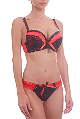 Womens Satin Superboost Heavy Padded Push Up Bra Set Lace Thongs Knickers (36 B + L, Red)