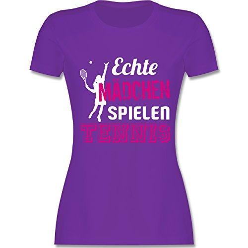Tennis - Echte Mädchen Spielen Tennis - S - Lila - L191 - Damen T-Shirt Rundhals