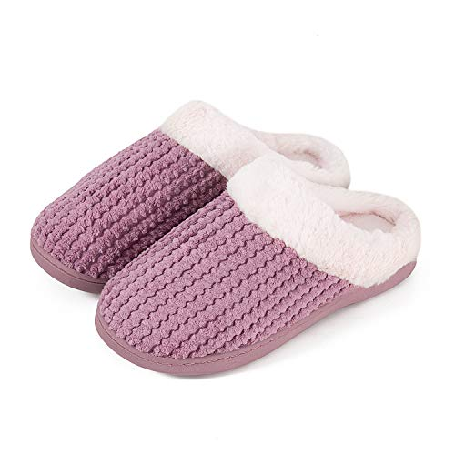Mabove Hausschuhe Damen Winter Wärme Bequem Plüsch Pantoffeln Indoor Home Rutschfeste Kuschelig Weite Leicht Slippers (Pink.HST,38/39 EU)