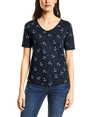 Street One Damen T-Shirt 311848, Mehrfarbig (Deep Blue 21238), 38 (Anker-damen T-shirt)
