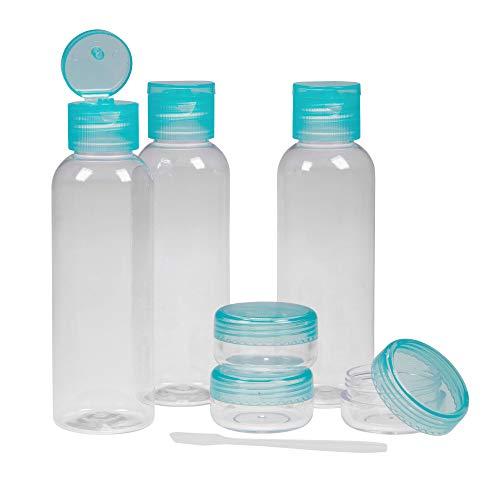 PARSA BEAUTY Reiseflaschenset mit transparenter Reise-Tasche mit 6 PET-Behältern Tiegel und Spatel fürs Flug-Handgepäck Modell Kaktus