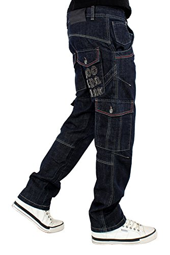 Brooklyn Mint Halt Cargo Denim Jeans Dunkelblau Wash