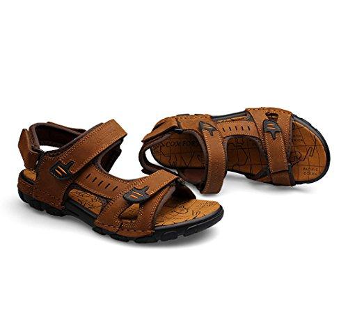 Sandales Confortables En Cuir Homme Chaussure été Sandales Avec Velcro Brun