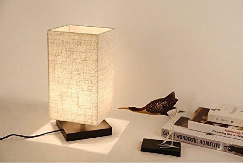zeefo lampada da tavolo notte lampada, legno massiccio e paralume ... - Bajour Per Camera Da Letto