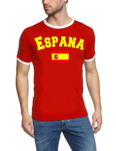Coole-Fun-T-Shirts Spanien T-Shirt Ringer Rot, Gr.XL