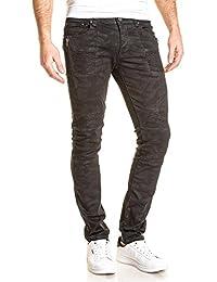 BLZ jeans - Jean homme slim noir imprimé camouflage nervuré