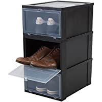 Iris 3er-Set Schuhboxen/Aufbewahrungsboxen für Schuhe 'Drop Front Box', EUDF-M, Kunststoff, schwarz/transparent, 35,5 x 28 x 18 cm