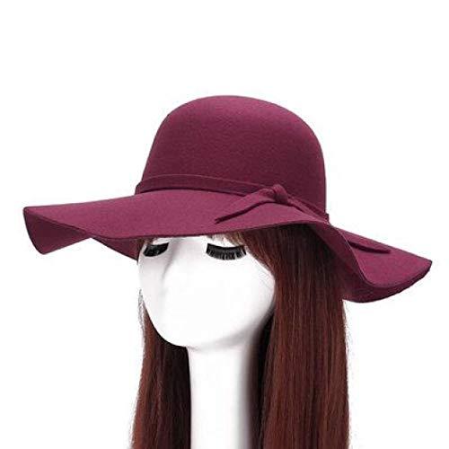 GOUNURE Wollfilz breite große Krempe Fedora Hüte für Frauen Eimer Cloche Hut Floppy Trilby Hut Sun Caps mit großer Schleife -