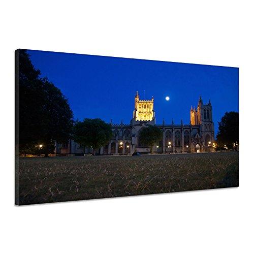 Nacht Mond Bristol Kathedrale Kirche Dom Gras Leinwand Poster Druck Bild cc0596 90x60 (Mond Auf Kirche Dem)