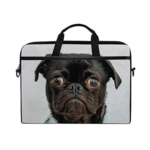 3ba779de6f21 LIUBT Funny Pug Dog Laptop Shoulder Messenger Bag Computer Briefcase  Business Notebook Sleeve Cover Carrying Handle Bag for 14 inch to 15.4 inch