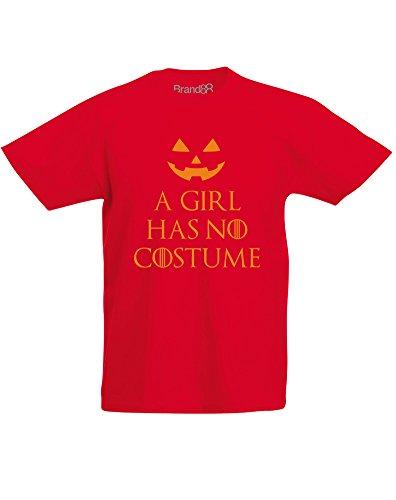 A Girl Has No Costume, Kind-druckten T-Shirt - Rote/Orange 5-6 Jahre