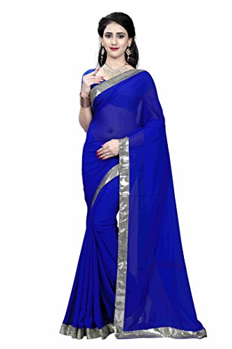 Bikaw Embroidered Blue & Blue Georgette Traditional Festival Wear Women's Saree.  available at amazon for Rs.399