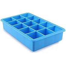 JUNGEN 15-Square cubitera hielo suave silicona Cubito de hielo bandeja, hace perfecto cubitos de hielo mantener su bebida refrigerada durante horas