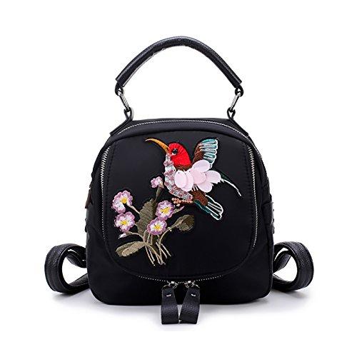 Coolives Damen Multifunktionaler mini Rucksack handtasche klein Nylon lässiger mode rucksäcke Umhängetasche für Frauen teenager Mädchen schwarz (Schwarze Kleid Kleine Nylon)