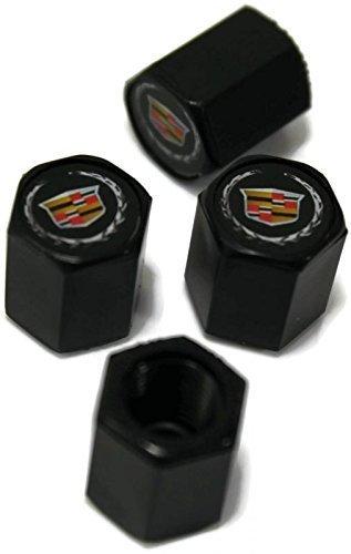 Preisvergleich Produktbild Auto Außerhalb Store Cadillac Rad Air Reifen Ventil Vorbau Kappe schwarz ABS-Kunststoff – Ring aus echtem