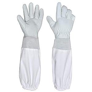 LIOOBO 1 Paar Imkerhandschuhe Ziegenlederhandschuhe mit Langen Ärmeln für Anfänger Professionelle Imker Größe XXL (Weiß)