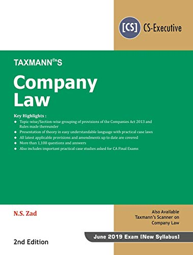 Company Law (CS-Executive) (June 2019 Exam-As per New Syllabus) (2nd Edition January 2019)