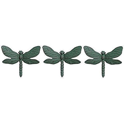 Conjunto de 3soporte de pared Hierro fundido en cardenillo libélula adorno de jardín
