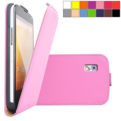 COOVY® Cover für LG LG Google Nexus 4 E960 Slim Flip Case Tasche Etui inklusive gratis Displayschutzfolie | Farbe lightpink