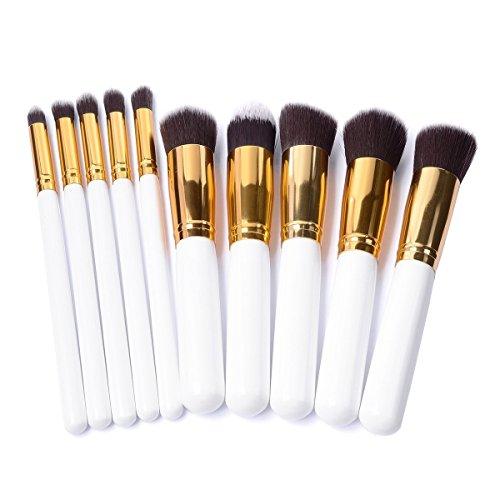 PIXNOR 10pcs Pinceaux de Maquillage Cosmétiques en Bois (Brun + Blanc + Or)
