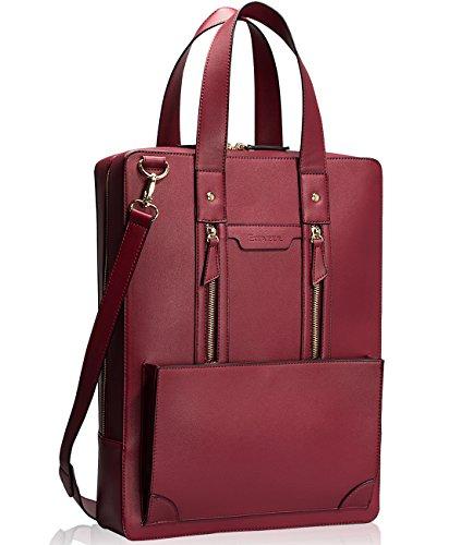 Estarer Damen Aktentasche Bürotasche 15.6 Zoll Laptop Tasche in PU-Leder Rot Wein (Laptop-tasche Rote)