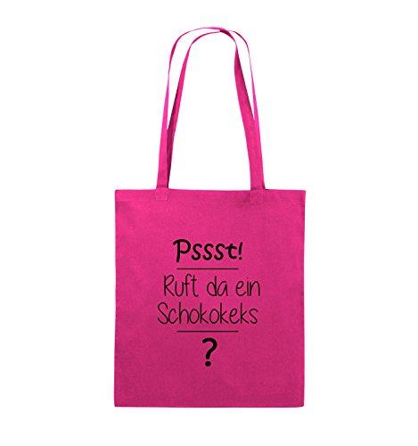 Comedy Bags - Pssst! Ruft da ein Schokokeks? - Jutebeutel - lange Henkel - 38x42cm - Farbe: Schwarz / Pink Pink / Schwarz