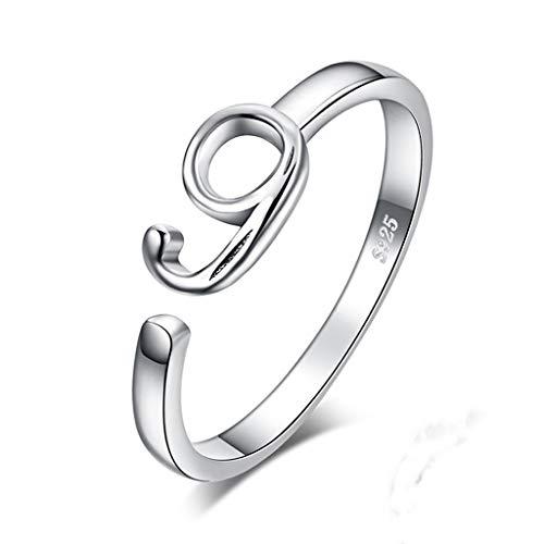 ZBNN Ring Offener Ring für Frauen Glückszahl 0 bis 9 Geburt Jahrestag 925 Sterling Silber Trendy Geschenk Marken Modeschmuck, Weiß, 2, resizable