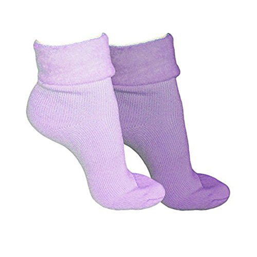 Ladies & Girls Super Soft Thermal Fleece Lined Warm Winter Bed Socks-PURPLE-LILAC-2prs